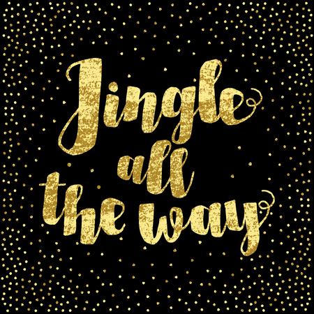 music lyrics: Tintineo hasta la cita inspirada Camino canción de Navidad. Oro brillante mano letras aisladas sobre fondo negro. Tarjeta postal, cartel, la camiseta, el diseño textil. Ilustración del vector.