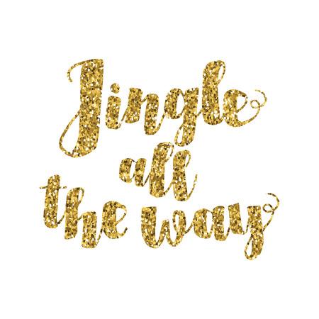 music lyrics: Tintineo hasta la cita inspirada Camino canción de Navidad. Oro brillante mano letras aisladas sobre fondo blanco. Telón de fondo tipográfico. Tarjeta postal, cartel, la camiseta, el diseño textil. Ilustración del vector.