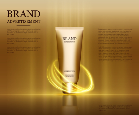Ads template, droplet bottle mockup isolated on dazzling background. Golden foil and bubbles elements. 3D illustration.