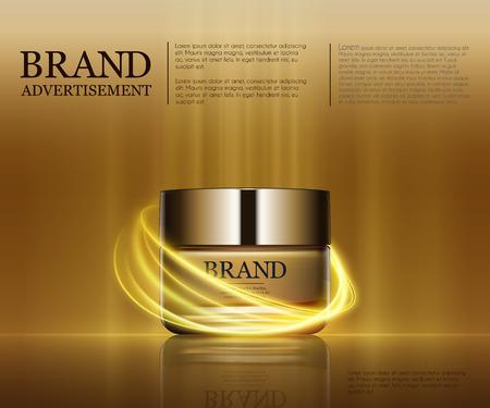 Annunci Cosmetic modello, gocciolina bottiglia mockup isolato su sfondo abbagliante. foglia d'oro e gli elementi bolle. illustrazione 3D. Archivio Fotografico - 73308319