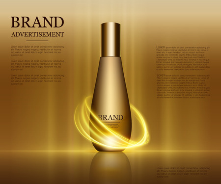 Maquette de bouteille de gouttelettes isolée sur fond éblouissant. Feuille d'or et éléments de bulles. Illustration 3D