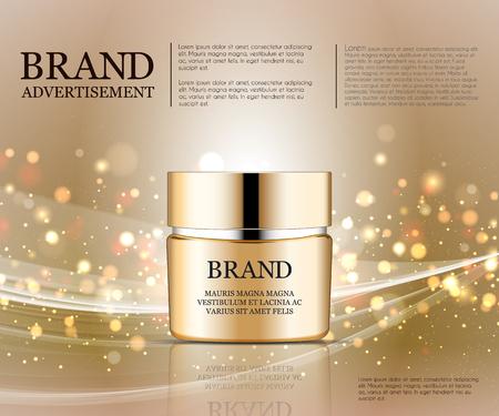 Annunci Cosmetic modello, gocciolina bottiglia mockup isolato su sfondo abbagliante. foglia d'oro e gli elementi bolle. illustrazione 3D. Archivio Fotografico - 73762481