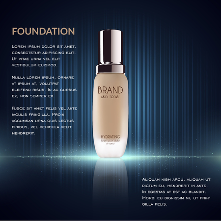adverts: Glamorous foundation ads, glass bottle with foundation and sparkling effects, elegant ads for design, 3d illustration