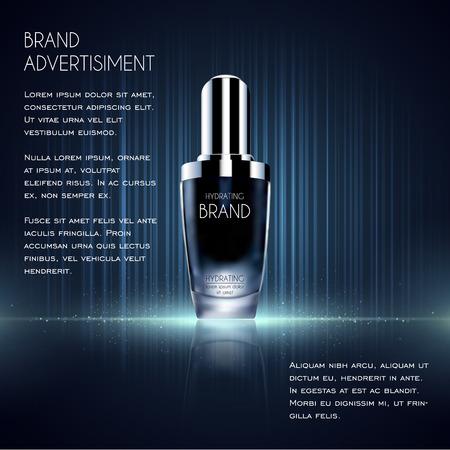 Modello di annunci cosmetici, bottiglia di essenza. Archivio Fotografico - 75455550