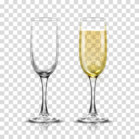 Realistic illustration set of transparent champagne glasses with sparkling white wine and empty glass.