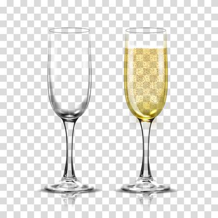 Realistyczny zestaw ilustracji przejrzyste kieliszki do szampana z musujące białe wino i puste szkło.