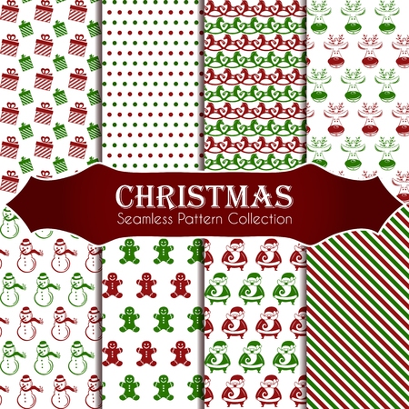 10 different Christmas seamless patterns. Endless texture for wallpaper, web page background, wrapping paper and etc. Retro style.