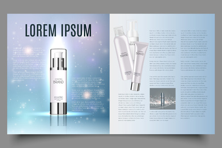 light blue cosmetic brochure design with helical structure and water drops, can also be used on catalogs or magazines, 3d illustration