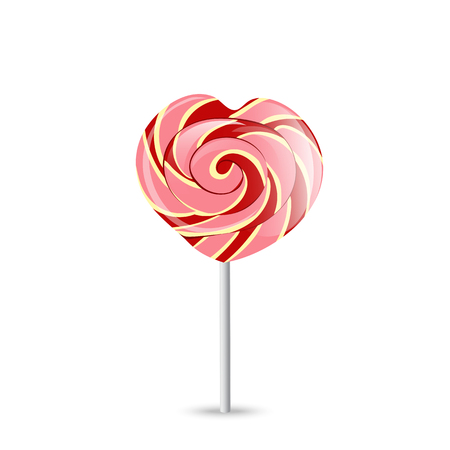 Colorful heart lollipop on white isolated.