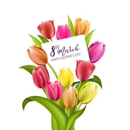 Beautiful bouquet of colorful tulips with a note inside. Greeting card to Women's Day isolated on white background Illustration