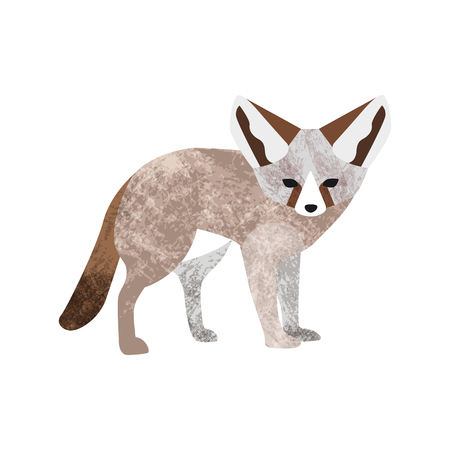 Vector flat style illustration of desert Fennec fox. Icon for web. Isolated on white background.