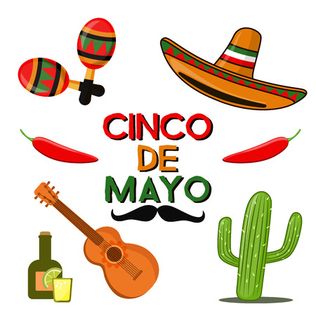 Cinco de Mayo celebration in Mexico, icons set, design element, flat style. Collection objects for Cinco de Mayo parade with sambrero, tequila, cactus, red hot chili pepper guitar, maracas. Vector illustration, clip art