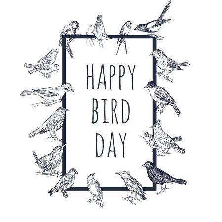 Satz von Hand gezeichneten Vögeln. Passerine. International Bird Day Karte. Schwarzweiss-vektorhintergrund. Vektorgrafik