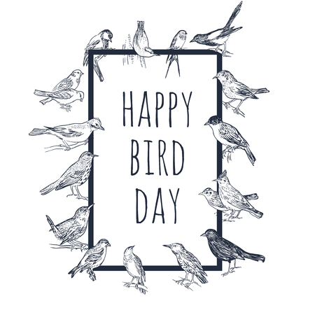 Set of hand drawn birds. Passerine. International Bird Day card. Black and white vector background.  イラスト・ベクター素材