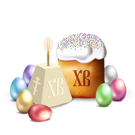 Russian Easter cake, cottage cheese, colorful eggs and candle. Isolated on white vector illustration