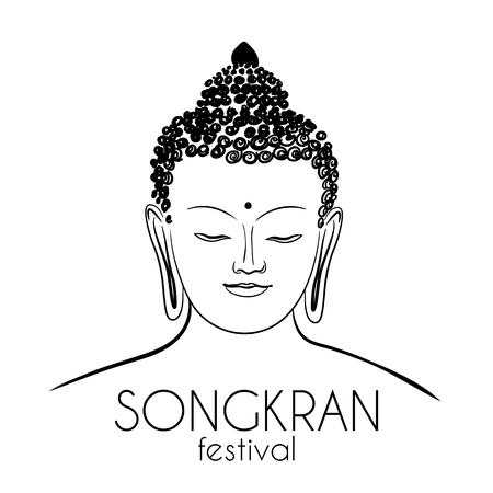 Buddha-Kopf, Handzeichnungsvektor, Ohm-Zeichen Bangkok Thailand Festival Songkran