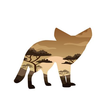 Vector Double exposure. Bear, elephant, camel and Leopard, wildlife concept Illustration