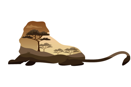Poster on themes wild animals of Africa, safari, animals of the Savannah, survival in the wild, hunting, camping, trip. Lion silhouette Vector illustration.