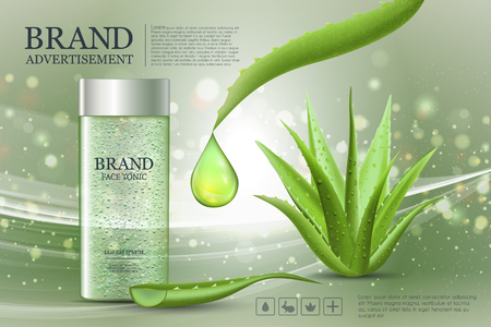 Advertising poster for cosmetic product for catalog, magazine. Vector design of cosmetic package.Moisturizing cream, gel, body lotion with aloe vera extract. Foto de archivo - 97871596