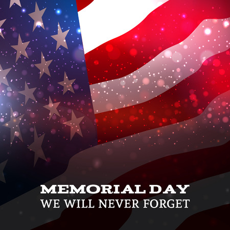 Memorial Day text on American flag background.