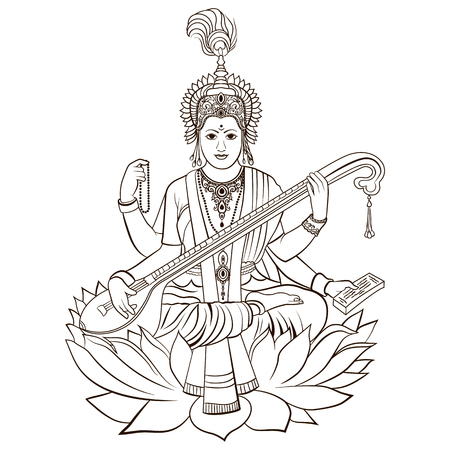 Hindu Goddess Saraswati. Vector hand drawn