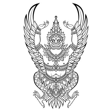 ガルーダ、ヴィシュヌの鳥。ベクターイラストレーション