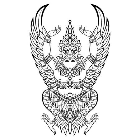 Garuda, bird of Vishnu. Vector illustration isolated Ilustração