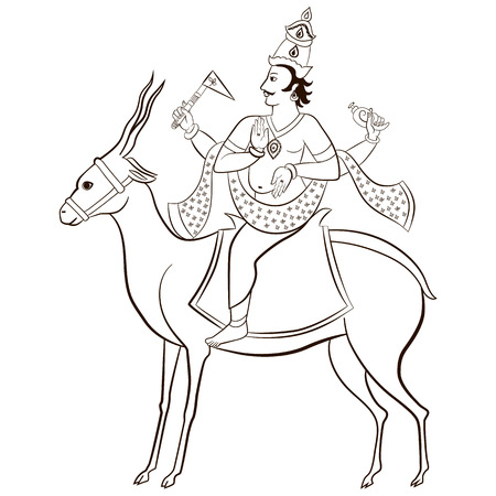 Hindu God Vayu sitting on the antelope. Vector illustration.