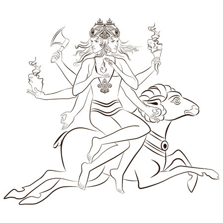 Hindu God Agni sitting on the sheep. Vector illustration.