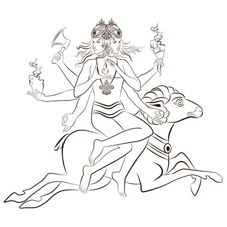 Hindu God Agni sitting on the sheep. Vector illustration.