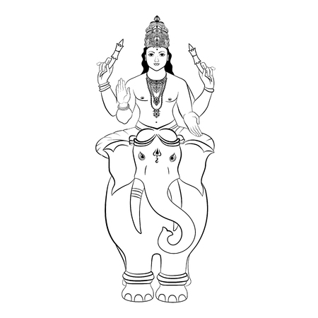 Hindu God Indra sitting on the elephant. Vector illustration.