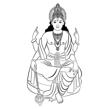 Hindu God Vishnu sitting Vector illustration isolated Ilustrace