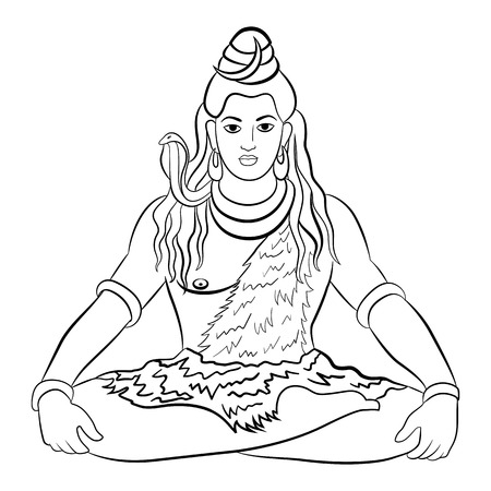 Lord Shiva in meditation. Greeting card for Maha Shivratri, a Hindu festival celebrated of Lord Shiva. Vector illustration.