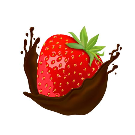 Strawberry in hot chocolate on white background