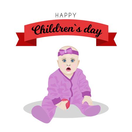 Poster design for Universal Children's day illustration.  イラスト・ベクター素材