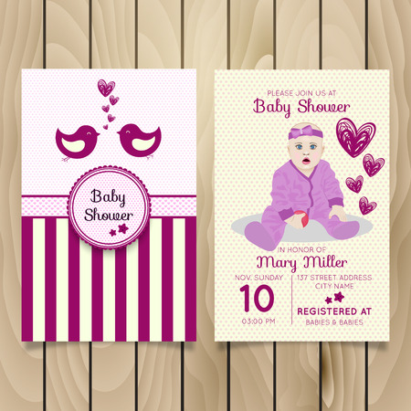 Baby Shower Invitation Template with baby girl, cute birds and hearts.