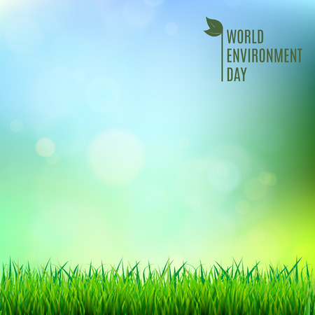 World environment day hand lettering card on blurred background vector illustration.