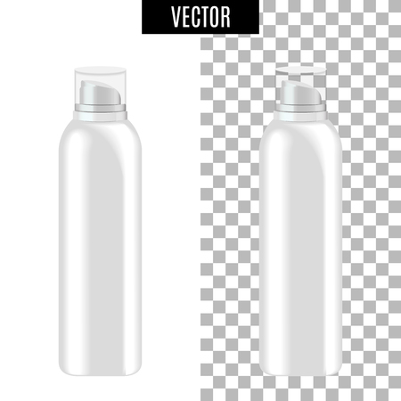 3d white realistic cosmetic icon package on transparent background, vector illustration. Realistic white plastic bottle for cream liquid soap with a pump. Vettoriali
