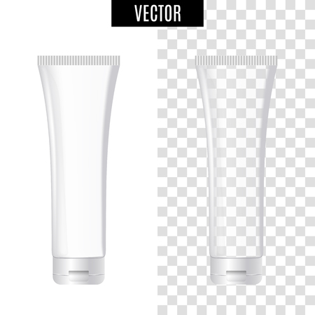 3d white realistic cosmetic package icon, empty tubes on transparent background, vector illustration. Realistic white plastic bottle.