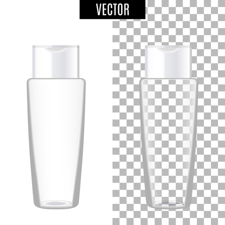 3d white realistic cosmetic package icon, empty bottle on transparent background, vector illustration. Realistic white plastic bottle for cream liquid soap