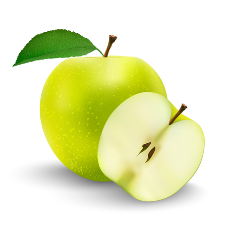 Perfect Fresh Green Apple Isolated on White Background in Full Depth of Field with Clipping Path. Stock Illustratie