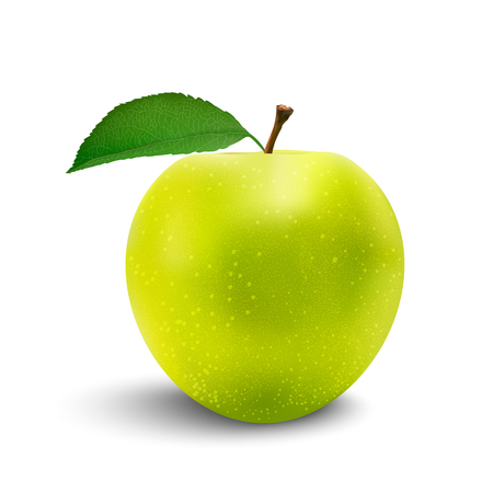 Perfect Fresh Green Apple Isolated on White Background in Full Depth of Field with Clipping Path. Vettoriali