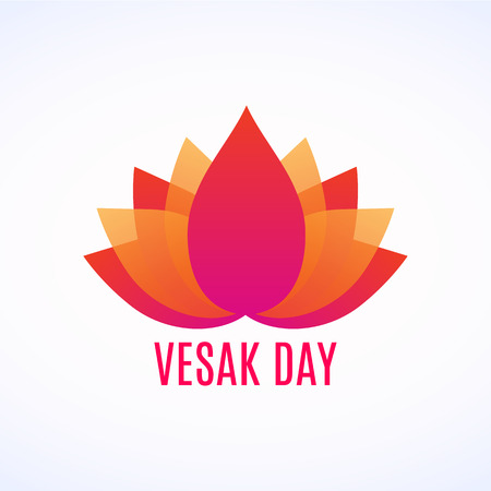 Abstract lotus flower Logo with Vesak day lettering