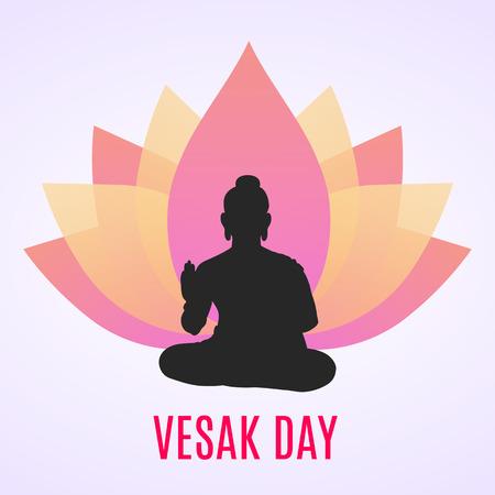 Illustration Of Vesak Day poster with buddha silhouette Vettoriali