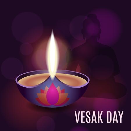 Illustration of Vesak day poster with an oil lamp Vettoriali