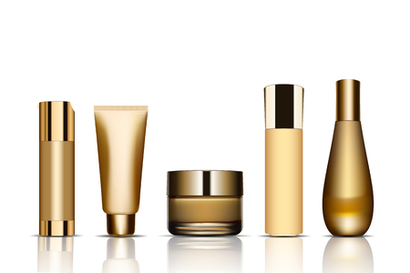 Set of realistic package for luxury cosmetic product. Collection of empty blank template of plastic containers with gold cap bottle for liquid, skin care cream. Vettoriali