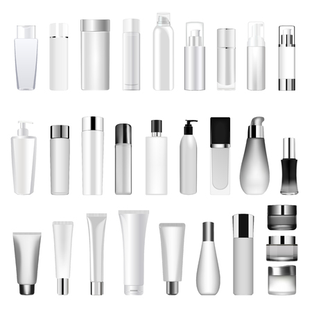 Set vector blank templates of empty and clean white plastic containers bottles with spray, dispenser and dropper, cream jar, tube.
