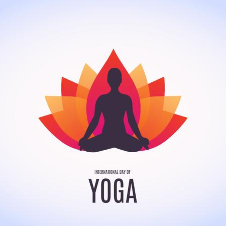 illustration of woman doing asana for International Yoga Day on 21st June