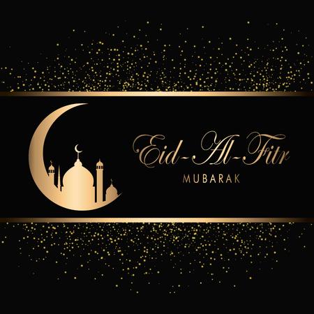 Eid Mubarak Design Background. Gold sparkling. Vector Illustration for greeting card, poster and banner.