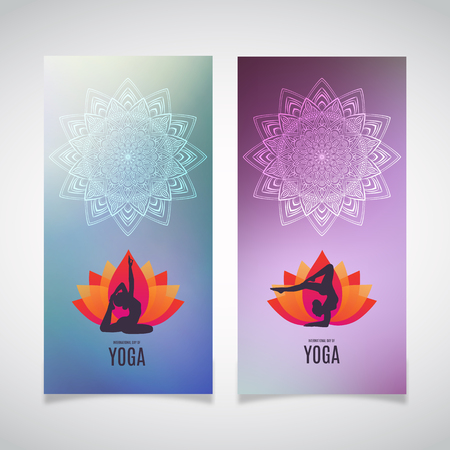 Greetind cards with mandald and silhouette of woman doing asana for International Yoga Day on 21st June. Lotos. Vettoriali